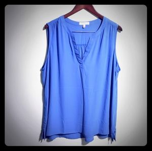 Periwinkle Blue Sleeveless Chaus Blouse